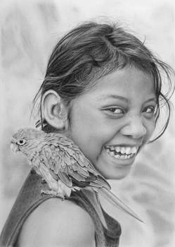 Pencil portrait of a girl with a parrot