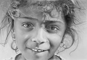 Pencil portrait of an Egyptian girl