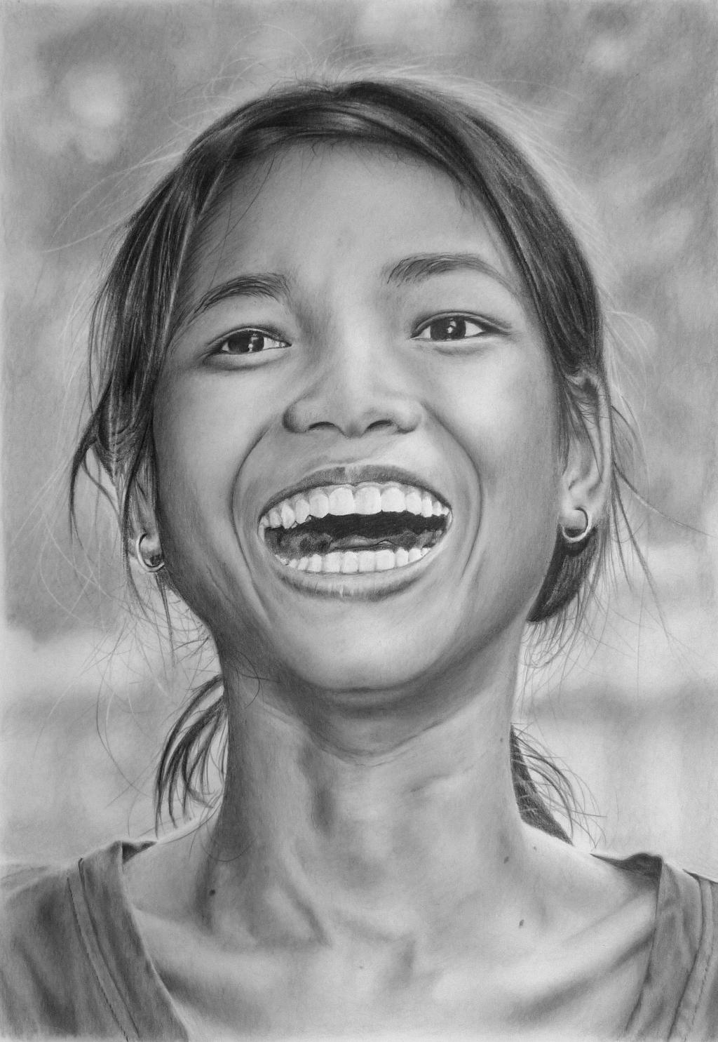 Pencil portrait of a laughing Cambodian Girl by ...