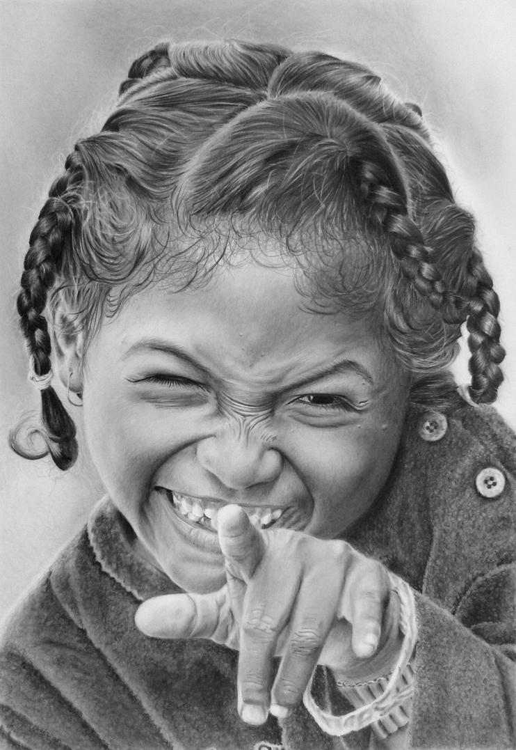 Pencil portrait of a cheeky Madagascan girl by ...