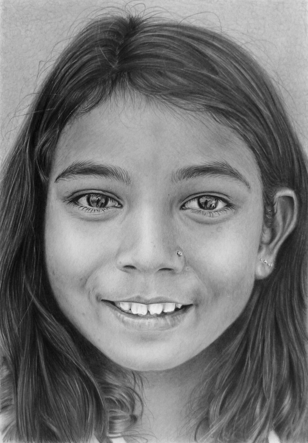 Pencil portrait of a young Indian girl by LateStarter63