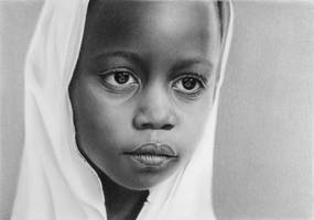 Pencil portrait of a Tanzanian girl
