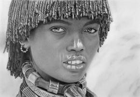 Pencil Portrait of a Married Hamer Woman