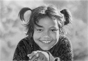 Pencil portrait of a smiling girl from Tatopani
