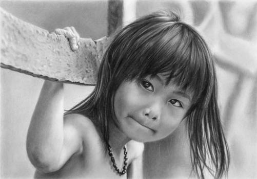 Pencil portrait of Nhu with a fence