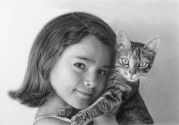 Pencil portrait of a girl with a cat