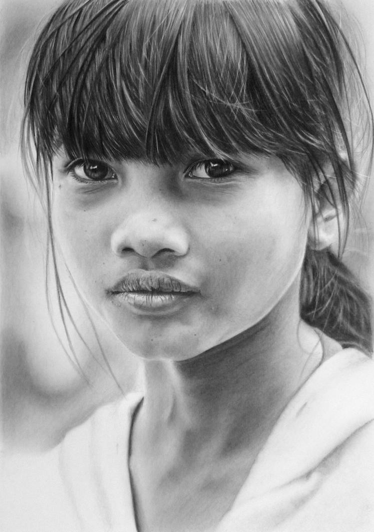 Pencil portrait of a Vietnamese girl by LateStarter63