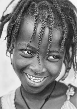 Pencil portrait of an Ari girl