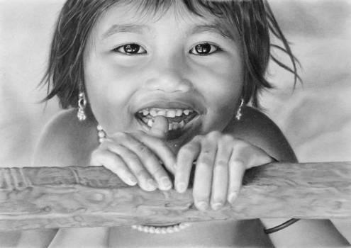Pencil portrait of a smiling Vietnamese girl
