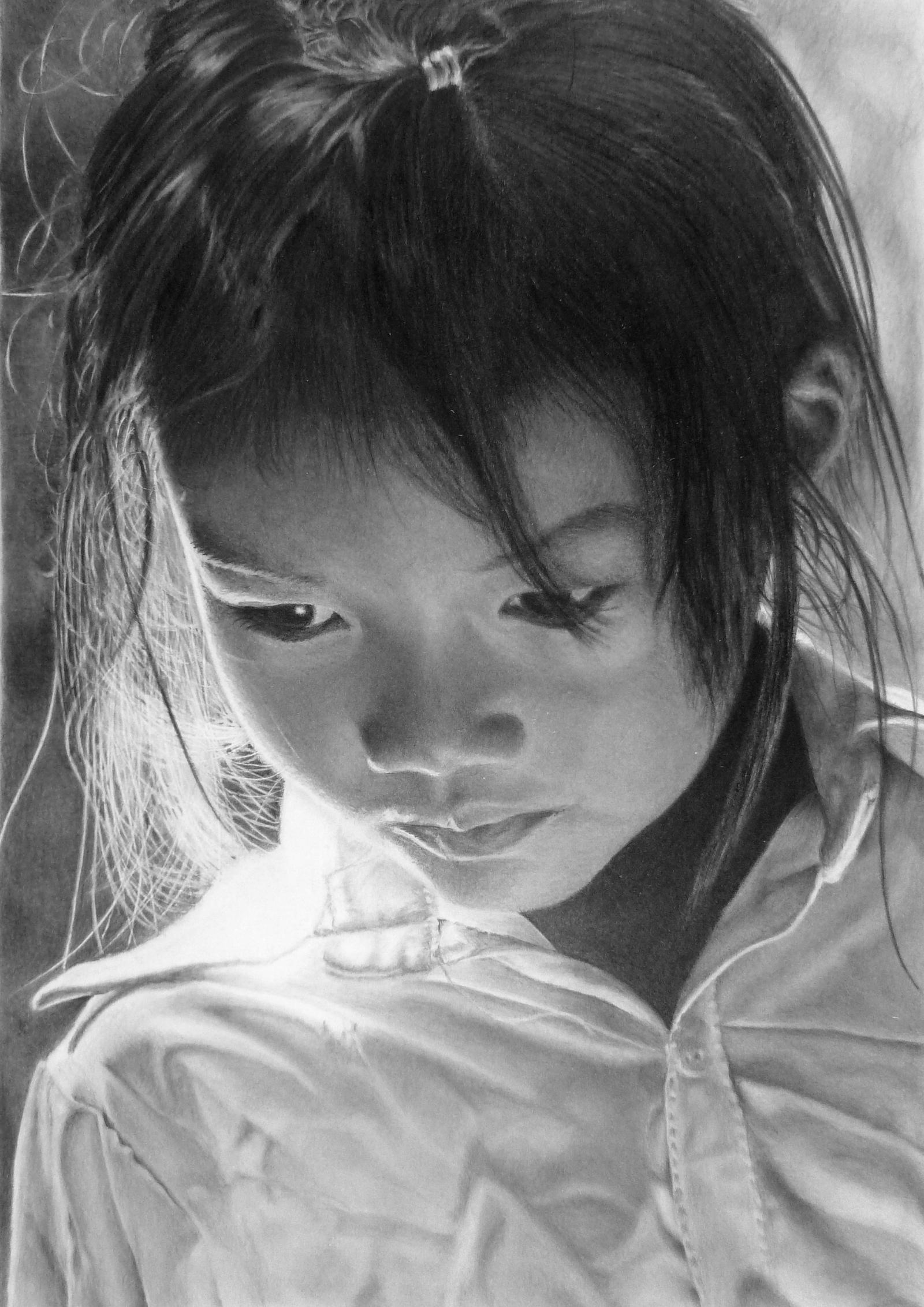Pencil portrait of a girl from the Lu ethnic group