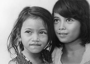 Pencil portrait of two girls from Da Lat