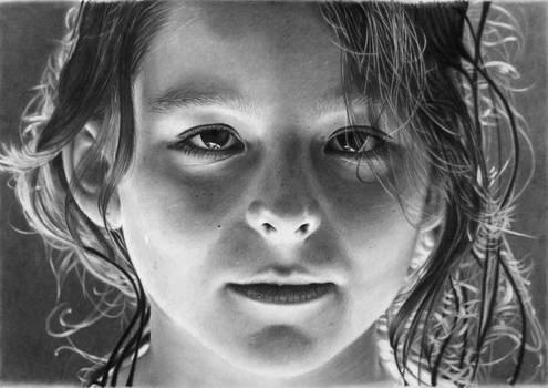 Pencil portrait of an uplit girl