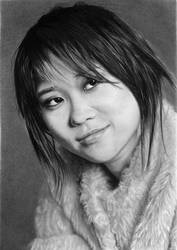 Pencil portrait of Yuja Wang, pianist (2019).