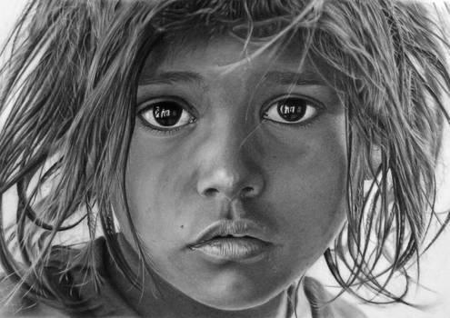 Pencil portrait of 'Eyes of Varanasi'