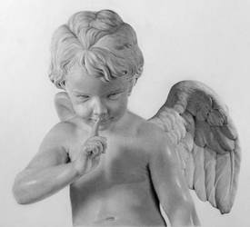 Pencil portrait of a sculpture of Cupid