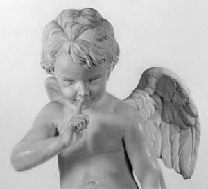 Pencil portrait of a sculpture of Cupid