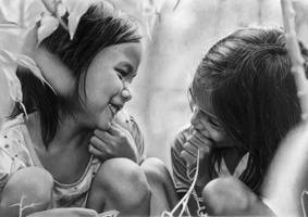 Pencil portrait of two young Vietnamese girls