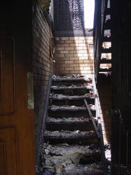 Old stock burned down stairs