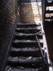Old stock burned down stairs 3