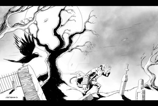 Hellboy carrying an eyeball through a graveyard