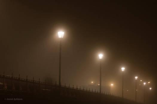 Streetlights in the fog