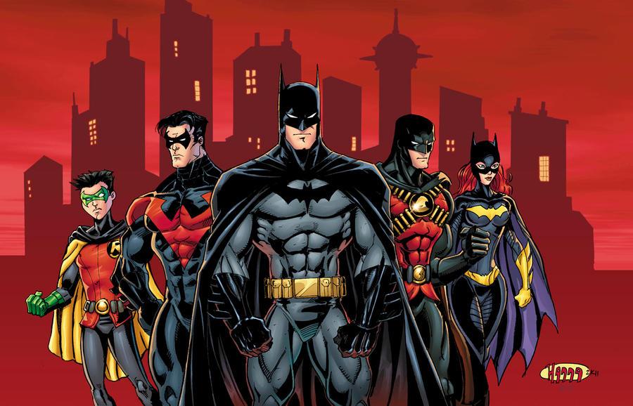 Batman Family batman family colors by