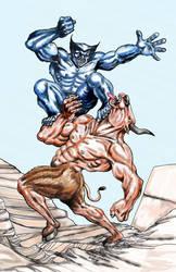 Beast Vs a Minotaur by martintimmins