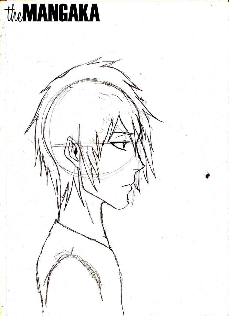 Anime Characters Side View : Male anime manga character profile view by