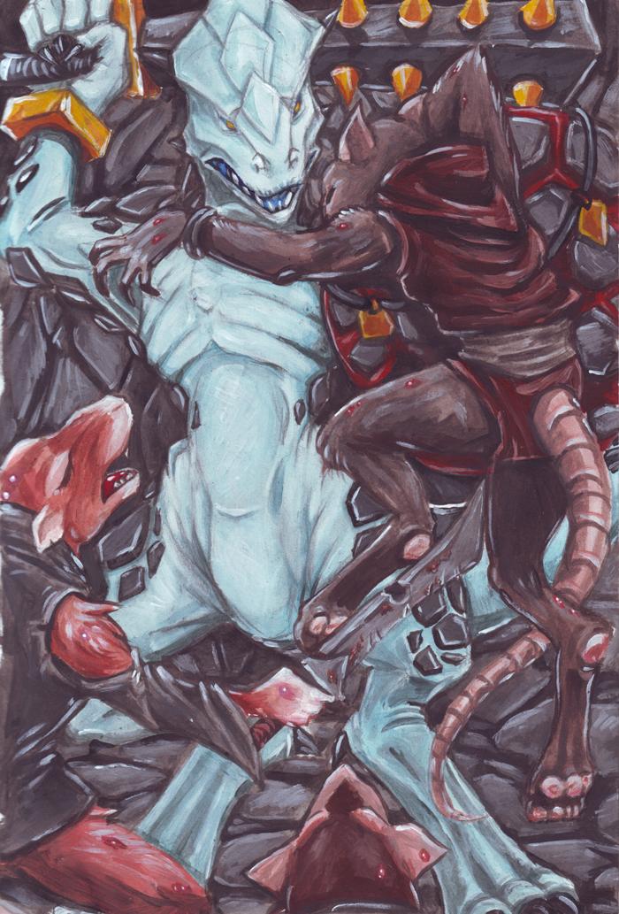 Lizardman vs Skaven by kitfox-crimson