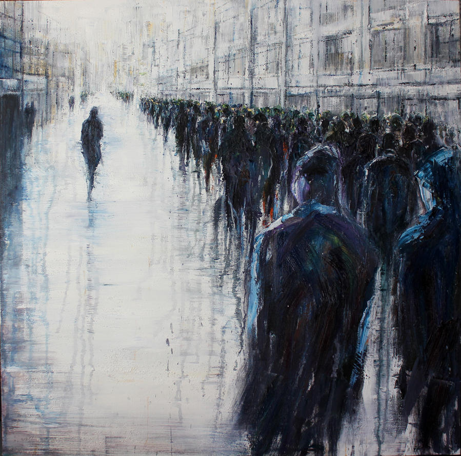 Non Conformist, 100x100cm, oil on canvas, 2014 by lesley-oldaker