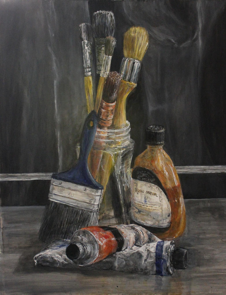 Tools of the Trade, acrylic/paper, 30x50cm,2014 by lesley-oldaker