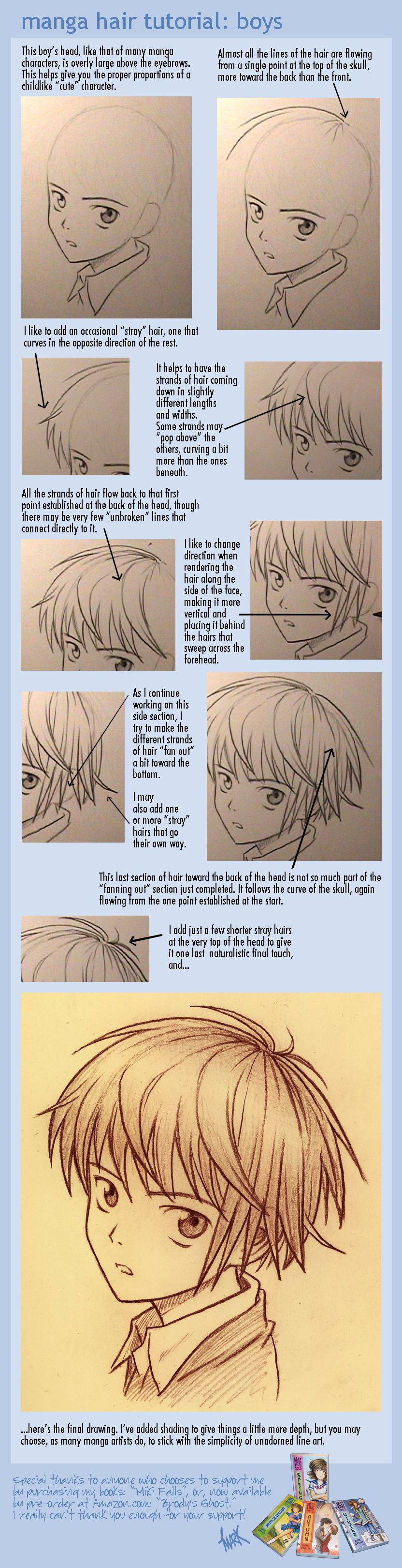 manga hair tutorial: boys by markcrilley
