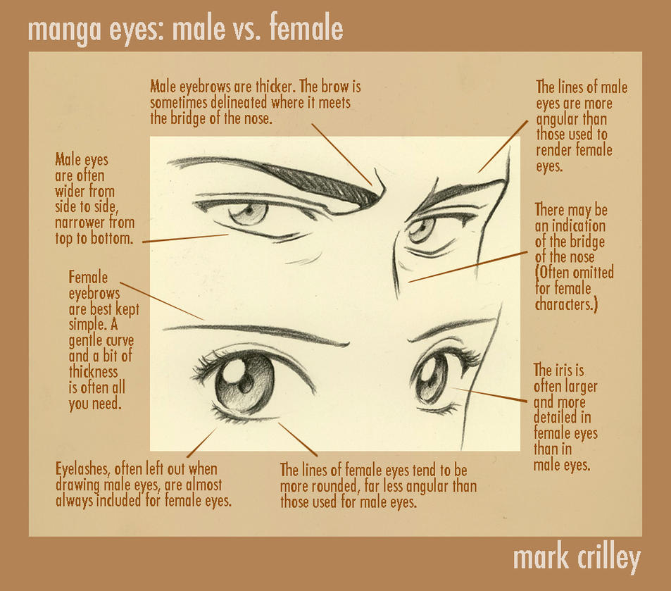 Manga Eyes Male Vs Female By Markcrilley