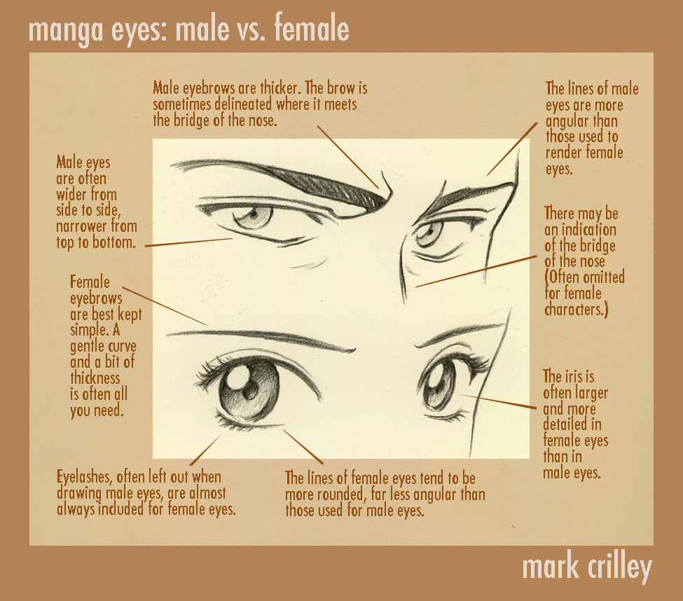 Drawings are the fact that the eyes are both the same which didnt really bother me too much until while watching some anime i noticed that male
