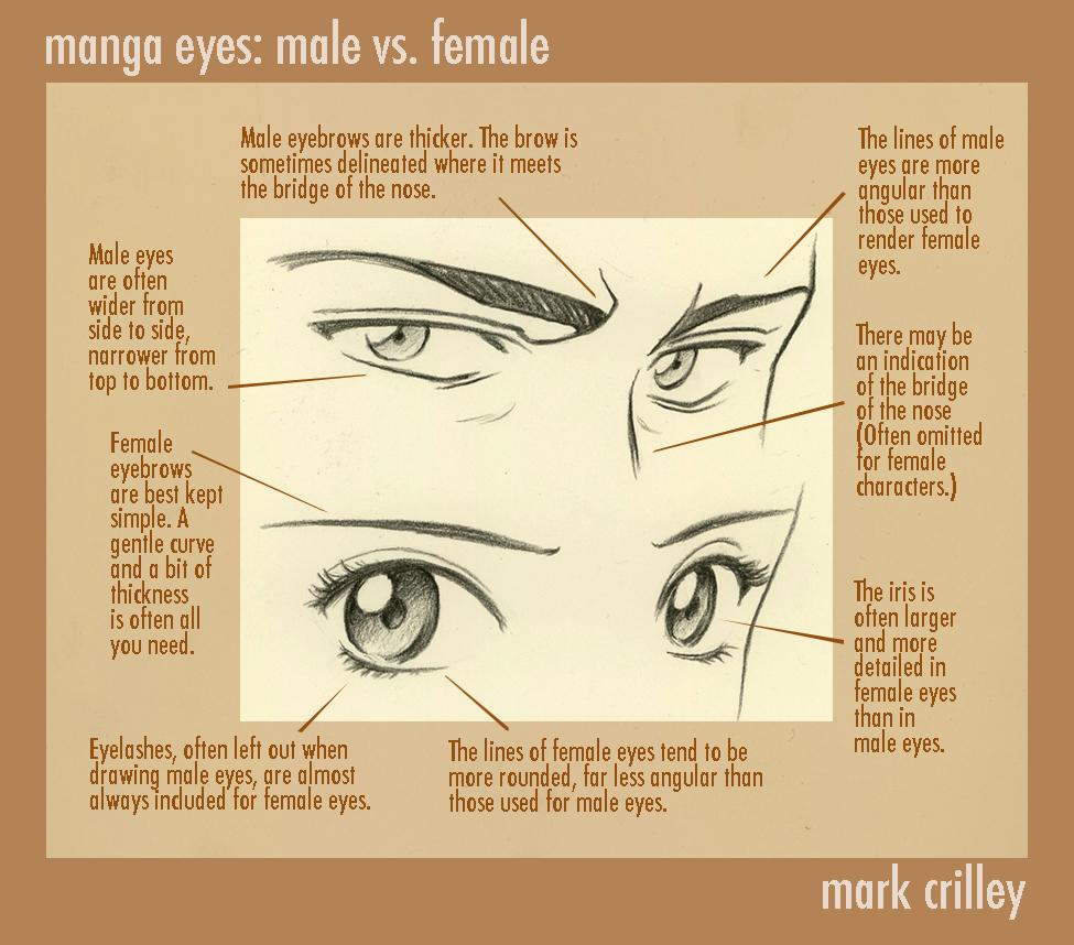 Manga eyes male vs female by markcrilley