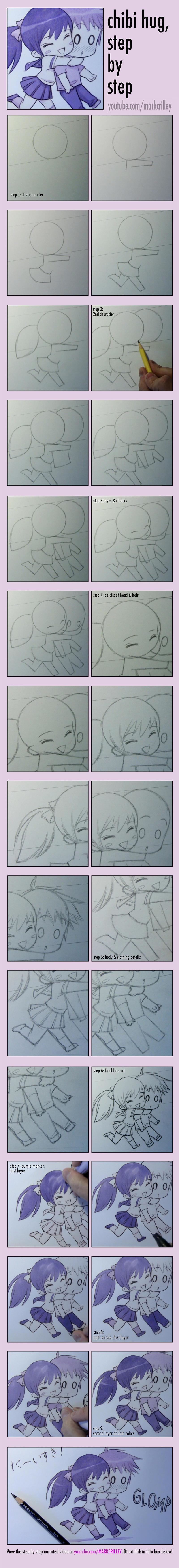 Chibi Hug, Step by Step by markcrilley
