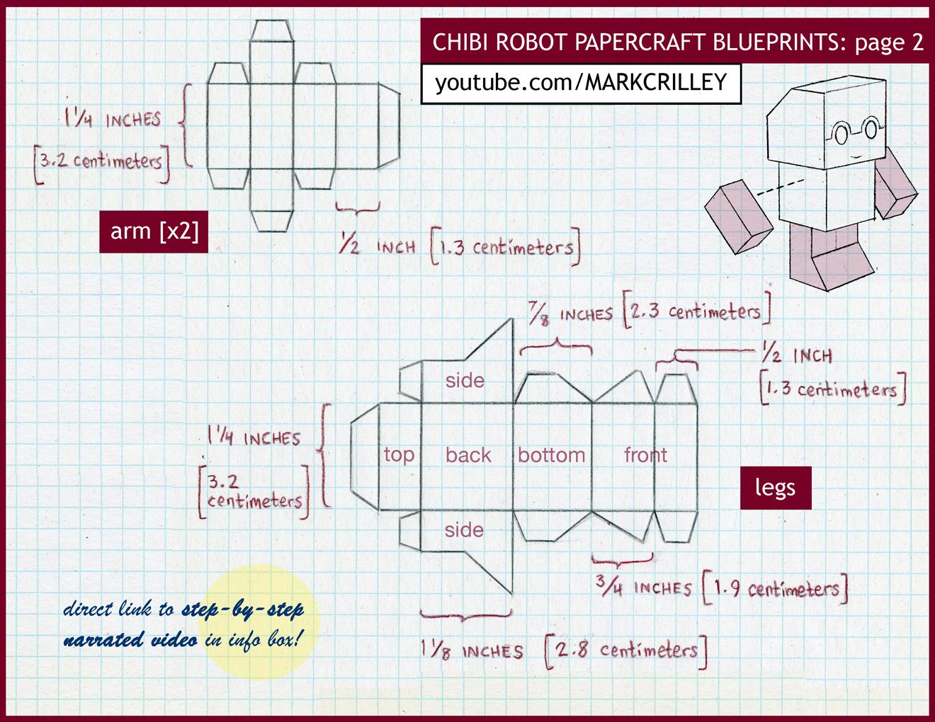 Chibi Robot Papercraft Blue Print 2