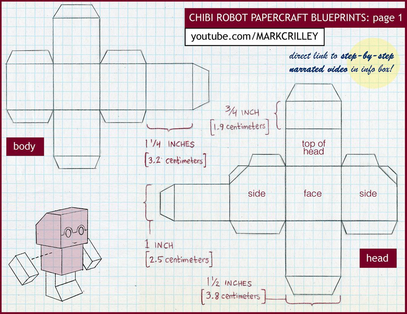 Chibi Robot Papercraft Blue Print 1