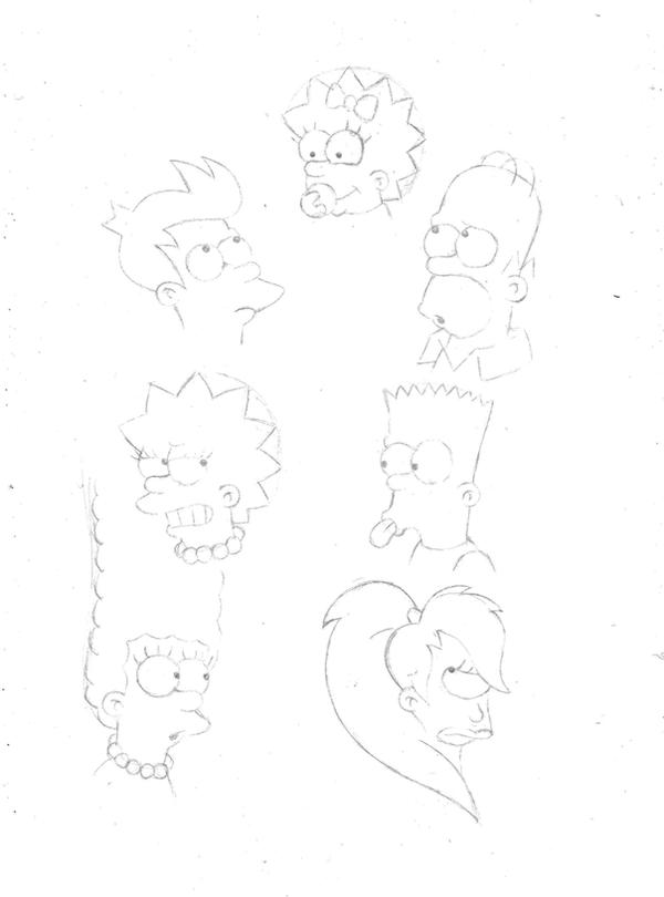 Simpsons/Futurama Sketches by TheFightingMongooses