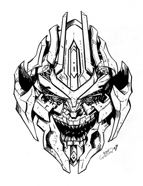 Movie Megatron Head Inks by channandeller