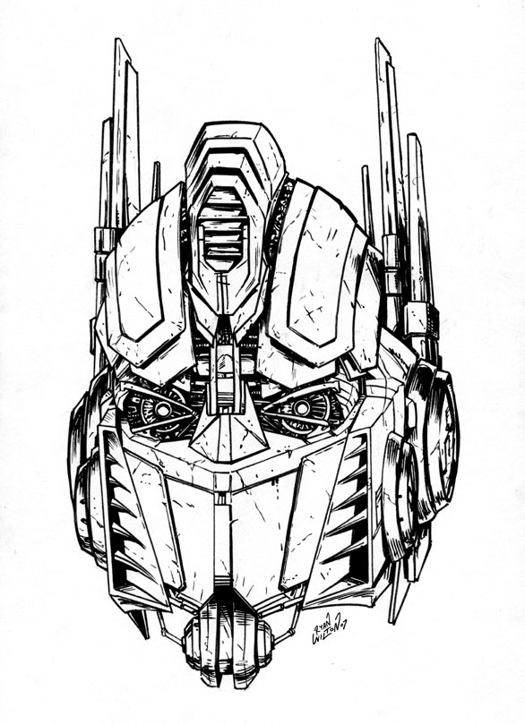 movie optimus prime head inks by channandeller on deviantart