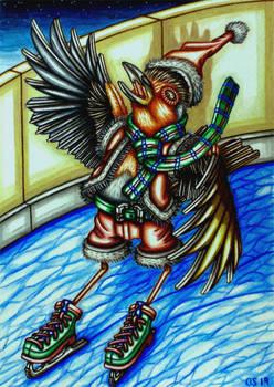 Ice Skating Robin Christmas Card