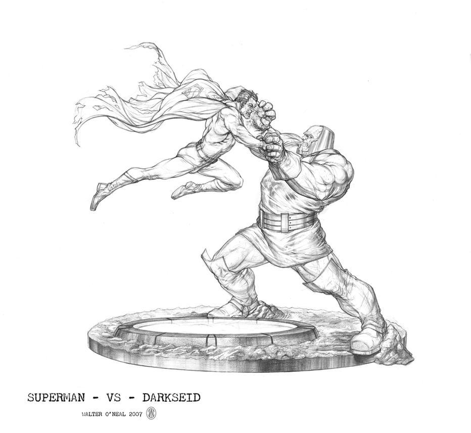 Superman Vs Darkseid Drawing
