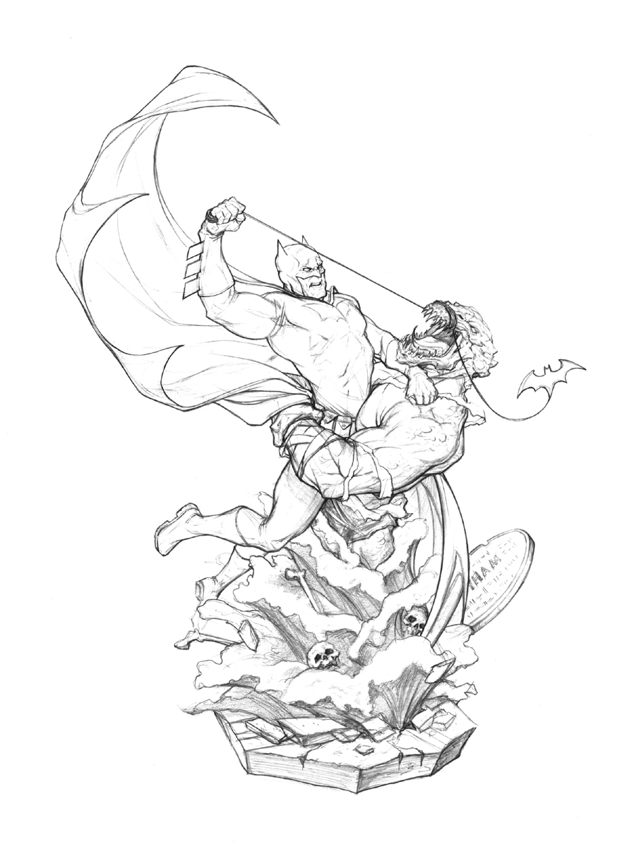 Batman vs killer croc unused by no sign of sanity on for Killer croc coloring pages