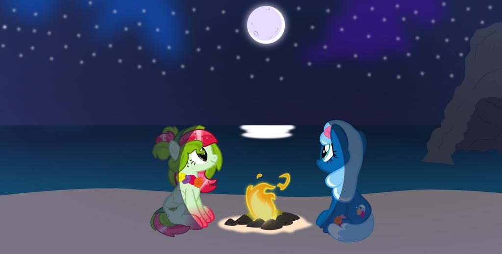 Watermelana and Sea Foam Nighttime beach by Pilot231