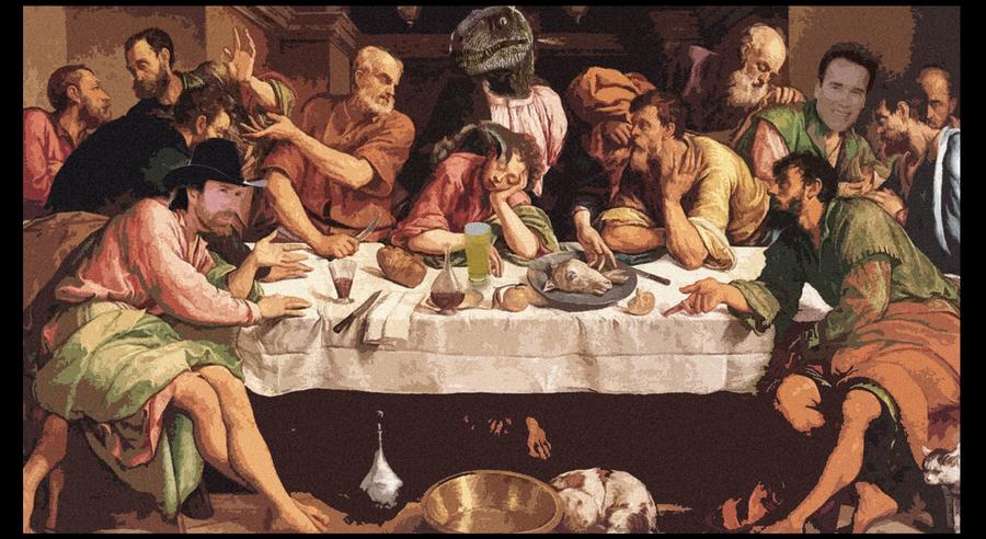 Raptor jesus last supper by peekflow666