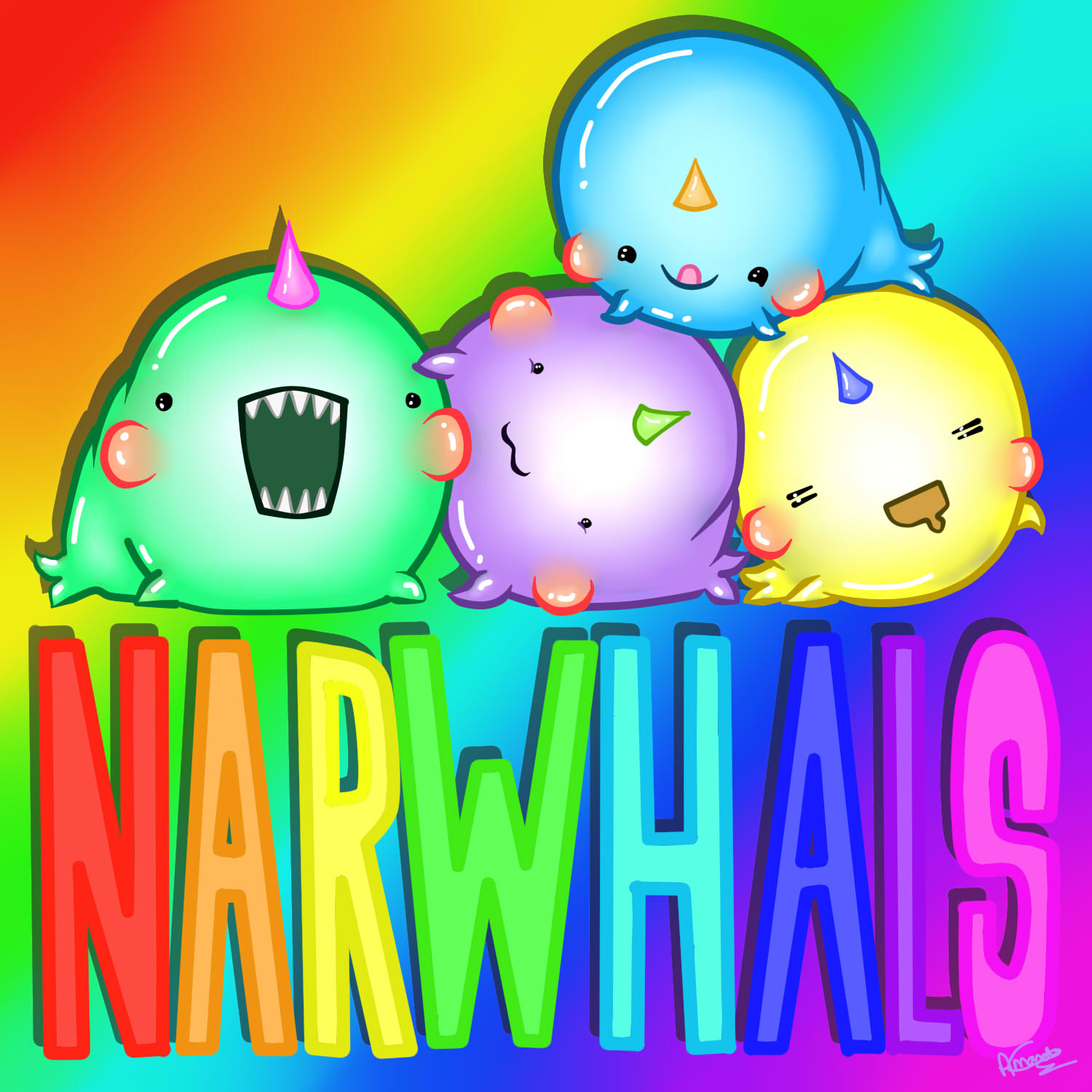 Rainbow Animated Narwhals rainbow narwhals by Am...