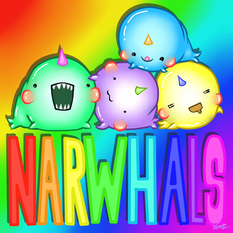 narwhal cartoon rainbow