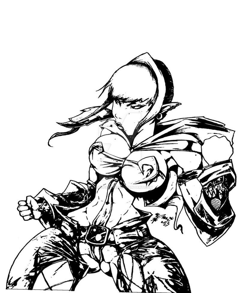 Lola (Afro Samurai Style) Black and White by Rageoficeman ...