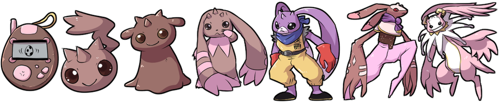 Digimon Squiby Evolution Line by krokus00